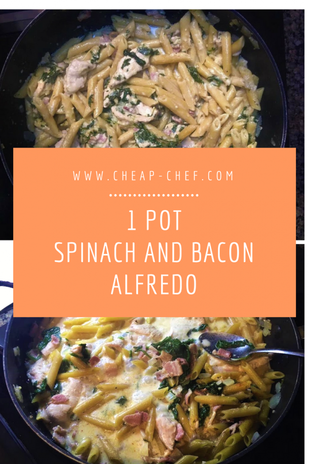 the cheap chef 1 pot spinach and bacon alfredo